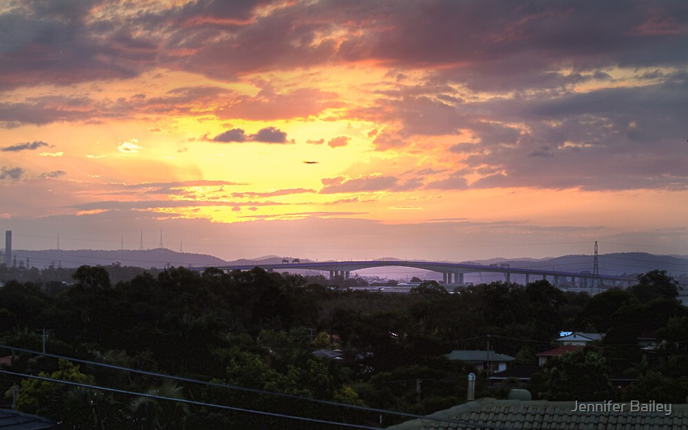 Sunset Over Gateway Bridge, Brisbane, QLD by Jennifer Bailey