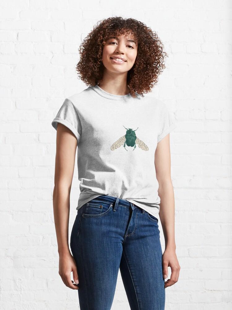 Alternate view of Green good luck beetle  Classic T-Shirt