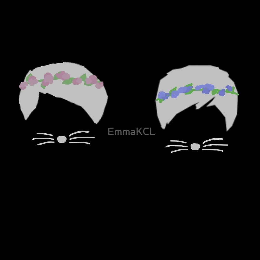 """""""dan and phil with flower crown black background"""" by"""