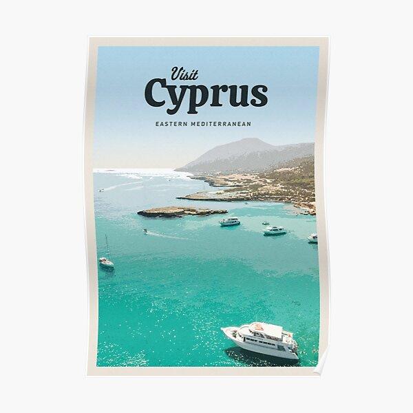 Cyprus Art Print Wall Art Original Illustration Protaras Cyprus Travel Poster
