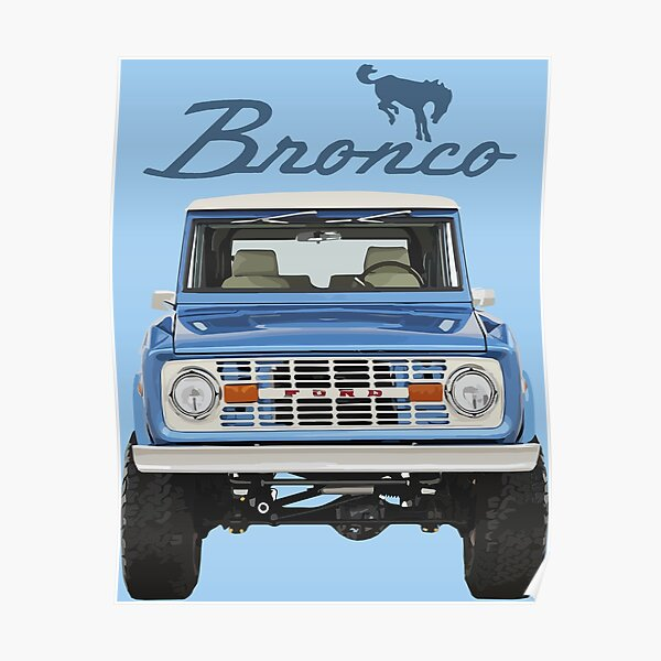 1975 Blue Ford Bronco Poster