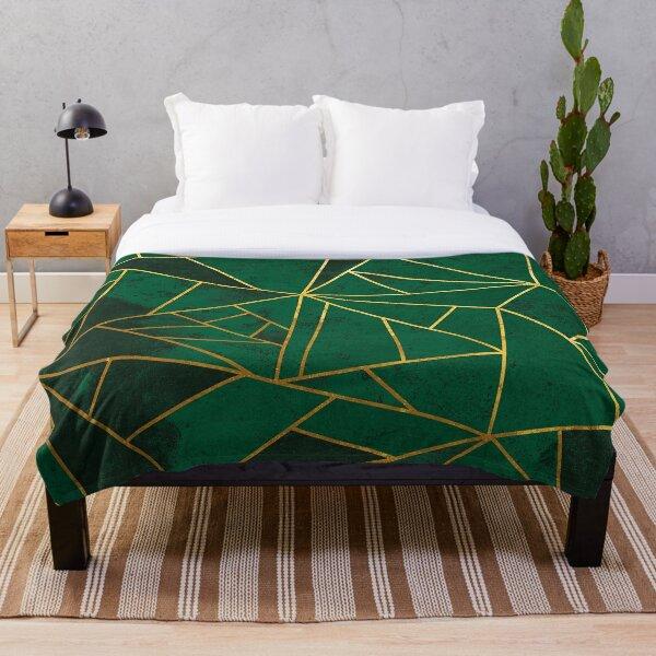Modern Emerald Green Abstract Geometric Pattern Throw Blanket