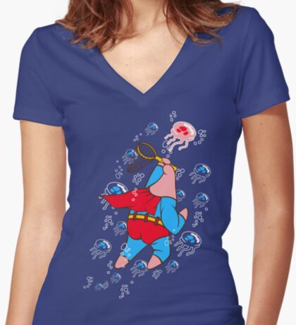 Superstar Jelly-fishing! Women's Fitted V-Neck T-Shirt
