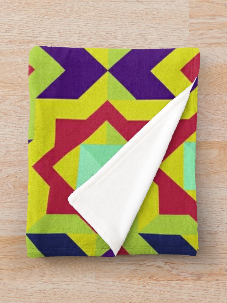 Alternate view of Geometric Intricate Trendy and Colorful  Pattern Throw Blanket