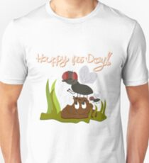 Flies on smiling, smelly poo funny cartoon T-Shirt