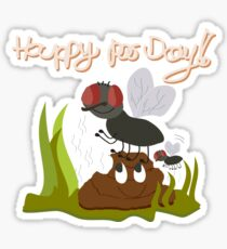 Flies on smiling, smelly poo funny cartoon Sticker