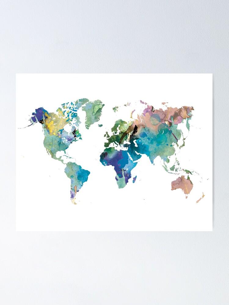 Aquarell Weltkarte Poster Von Southprints Redbubble
