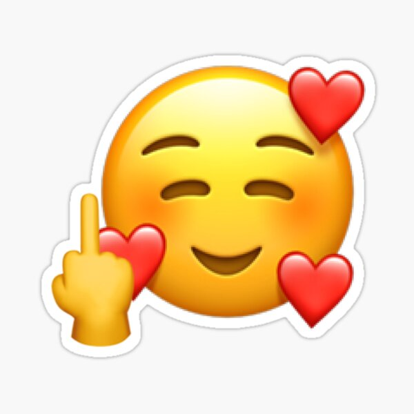 Funny Smiling Face with Hearts, Middle Finger Emoji
