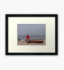 The Boat, The Fisherman And The Ocean - El Barco, El Pescadero Y El Oceano Framed Print