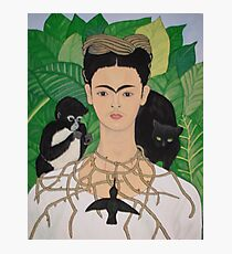 Frida with Monkey and Cat Photographic Print