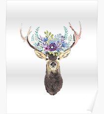 Deer with flower crown Poster