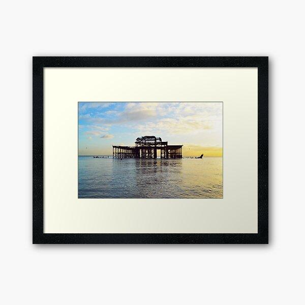 West Pier before Storm Framed Art Print