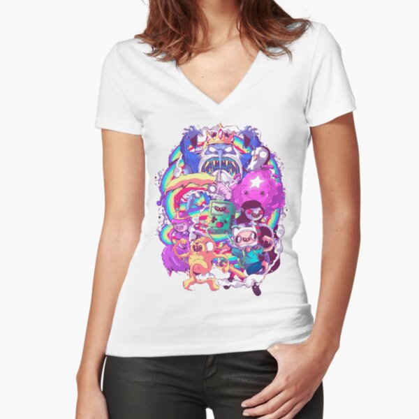 Adventure Time - Liquid Doodle  Fitted V-Neck T-Shirt