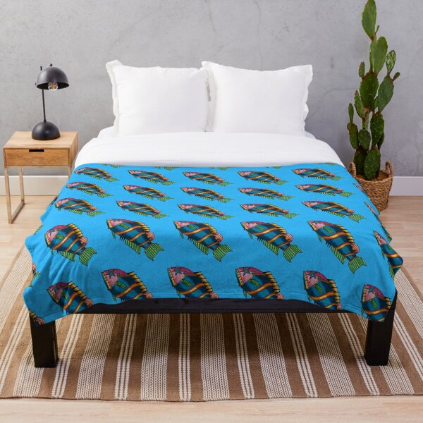 Something's Fishy - Blue Throw Blanket