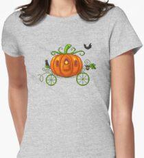 Pixel Pumpkin Carriage Womens Fitted T-Shirt