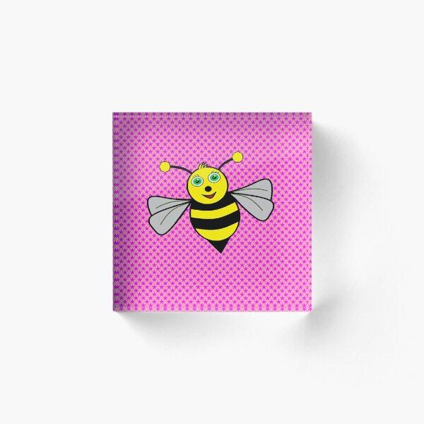 Bee on pink Acrylic Block