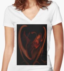 Fire Side 1f Women's Fitted V-Neck T-Shirt