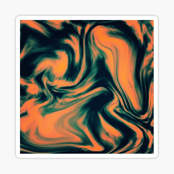 Abstract Painting Orange and Petrol  Sticker