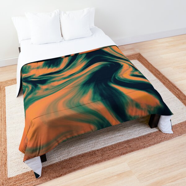 Abstract Painting Orange and Petrol  Comforter