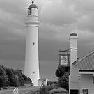Split Point Lighthouse, Aireys Inlet, grayscale version by Andy Berry