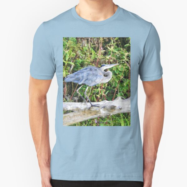 Great Blue Heron on Bare Branch Slim Fit T-Shirt