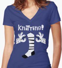 Knitting!  Women's Fitted V-Neck T-Shirt