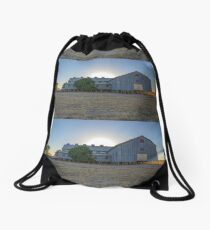 Sun Rising Behind Old Shearing Shed. Drawstring Bag