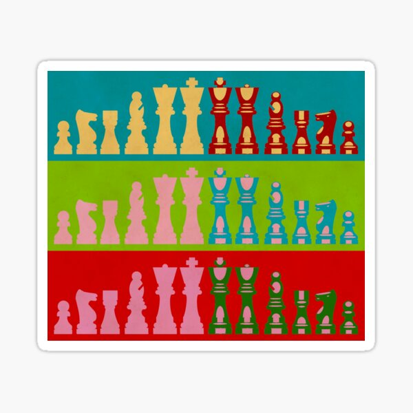 Chess Game Lover Pop Art Style Design Queen King Pawl Gift for him Idea Sticker