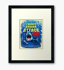 Zombie Shark Attack Framed Print