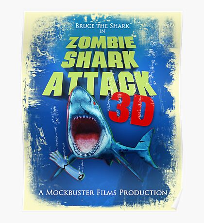 Zombie Shark Attack Poster
