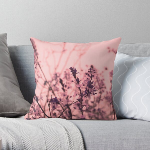 Cherry Flowers Blossom Throw Pillow