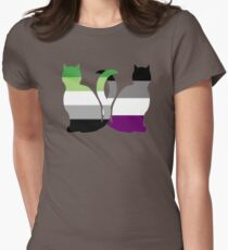 Aro Ace Pride Cats Women's Fitted T-Shirt