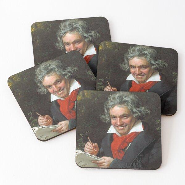 Smiling Ludwig Van Beethoven art famous music composer meme Coasters (Set of 4)