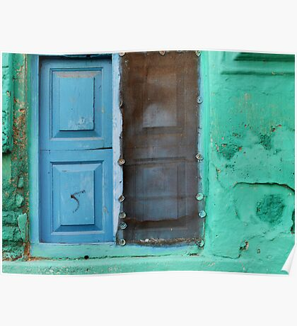 Blue doors in a (very) green wall Poster