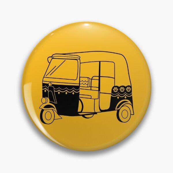 Black and Orange Rickshaw Pin