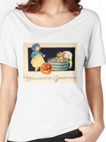 Little Zombie Tommy  (Vintage Halloween Card) Women's Relaxed Fit T-Shirt