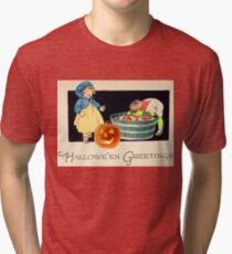Little Zombie Tommy  (Vintage Halloween Card) Tri-blend T-Shirt