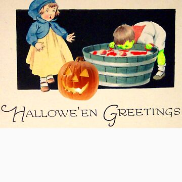 Little Zombie Tommy  (Vintage Halloween Card) by jibbsmerch