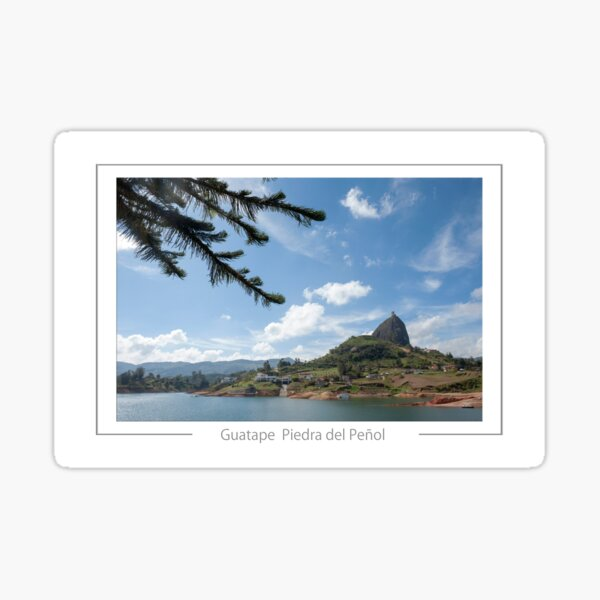 Guatape Colombia View of the Piedra del penol granite and quartz monolith rising 200 meters above the local vicinity. Sticker