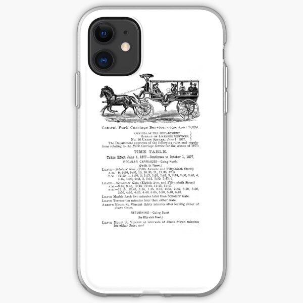 New York Central Park Carriages, 1877 Advertisement iPhone Soft Case