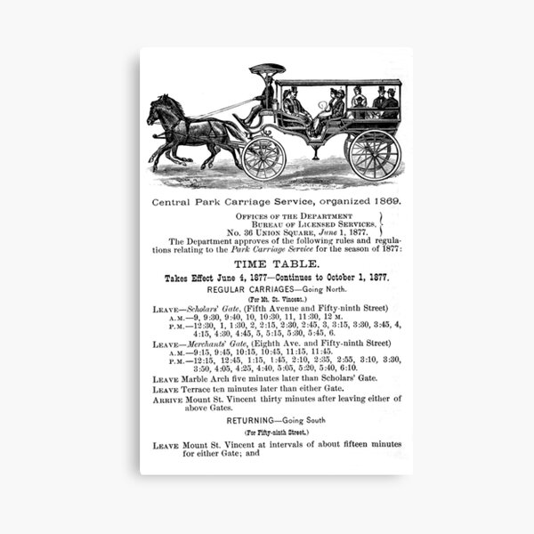 New York Central Park Carriages, 1877 Advertisement Canvas Print