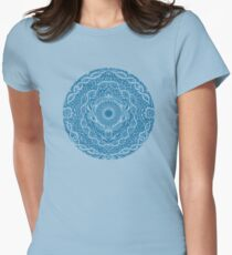 Rain in the Garden - blue and cream Womens Fitted T-Shirt