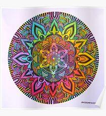 Mandala 10 drawing rainbow 1 Prints, Cards & Posters Poster