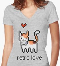 8 bit retro kitty Women's Fitted V-Neck T-Shirt