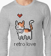 8 bit retro kitty Long Sleeve T-Shirt