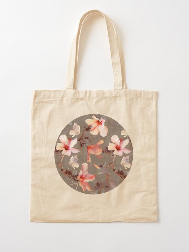 Black Tropical Toucan Natural Canvas Handbag Hibiscus Floral Bag Purse