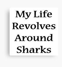 My Life Revolves Around Sharks  Canvas Print