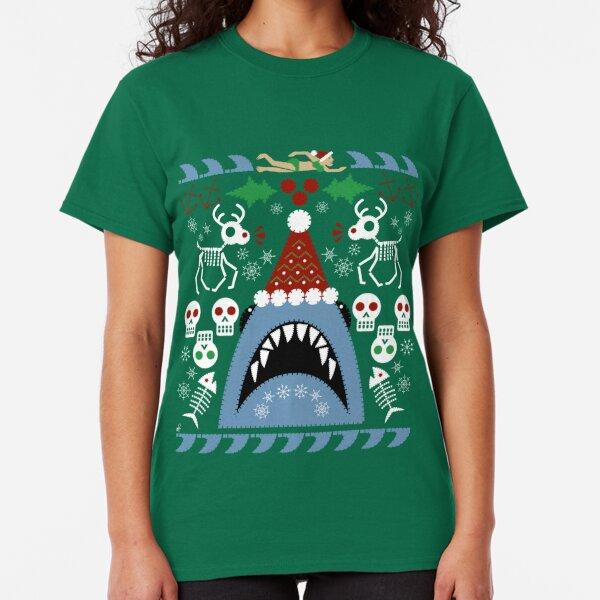 Santa Jaws Ugly Sweater Classic T-Shirt