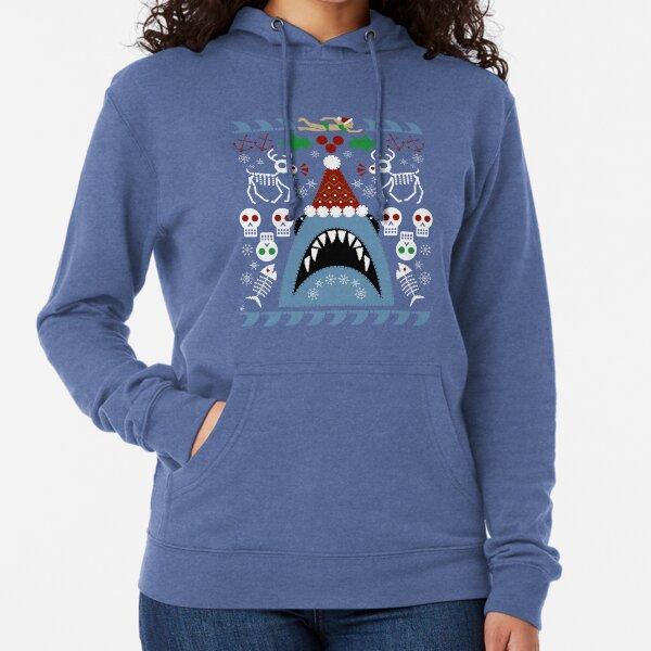 Santa Jaws Ugly Sweater Lightweight Hoodie