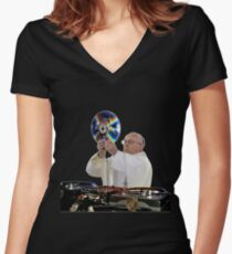 DJ Earth Pope Francis, EDM Holy Father Fitted V-Neck T-Shirt